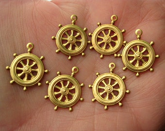 Raw Brass Ships Wheel Compass Charms marine nautical jewelry findings set of six pcs