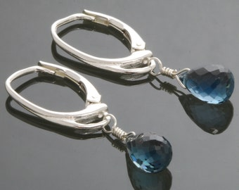 London Blue Topaz Earrings with Sterling Silver Lever Back Ear Wires f13e084