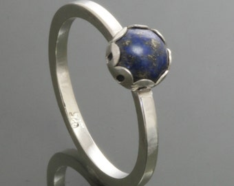 Lapis Lazuli Sterling Silver Stacking Ring - September Birthstone f14r004