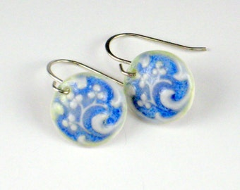 Porcelain Earrings Berry Swirl In Glaicer Blue With Sterling Silver Earwires