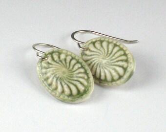 Porcelain Earrings In Green With Sterling Silver Earwires