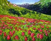 "Colorado High Country Wild Flowers, Huge 48"" x 72"", Commissioned Painting on a Genie Collapsible Canvas by Patty Baker"