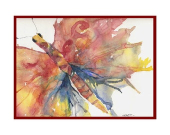 Watercolor Red Butterfly Cards Notecards Note Cards, Butterfly Print, Butterfly Art, Butterflies, Boxed Set, Stocking Stuffers,