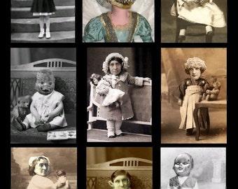 Creepy and Bizarre Children - Digital Collage Sheet - Instant Download
