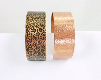 Copper Cuff - Simply Flowers Bracelet - S, M, L - With Patina or Without