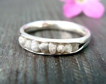 raw diamonds in palladium silver