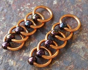 Dangle Free Knitting Stitch Markers - Metallic Purple Iris Beads Copper Wire - Choose Ring Size and Quantity