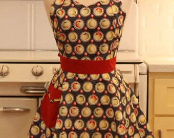 Retro Full Apron  Apples on Black BELLA
