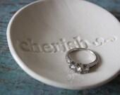 Engagement Gift Wedding Gift Ceramic Ring Dish Ring Bowl Cherish