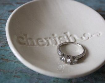 Engagement Gift Wedding Gift Ceramic Ring Dish Ring Bowl Cherish