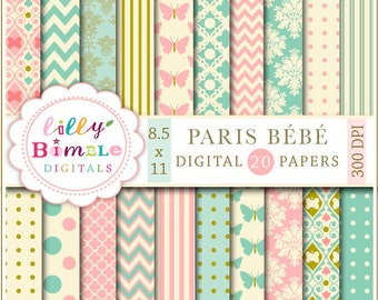 60% off PARIS BEBE digital papers in teal and salmon pink, modern scrapbook papers for cards, crafts and design elegant Letter Size Instant