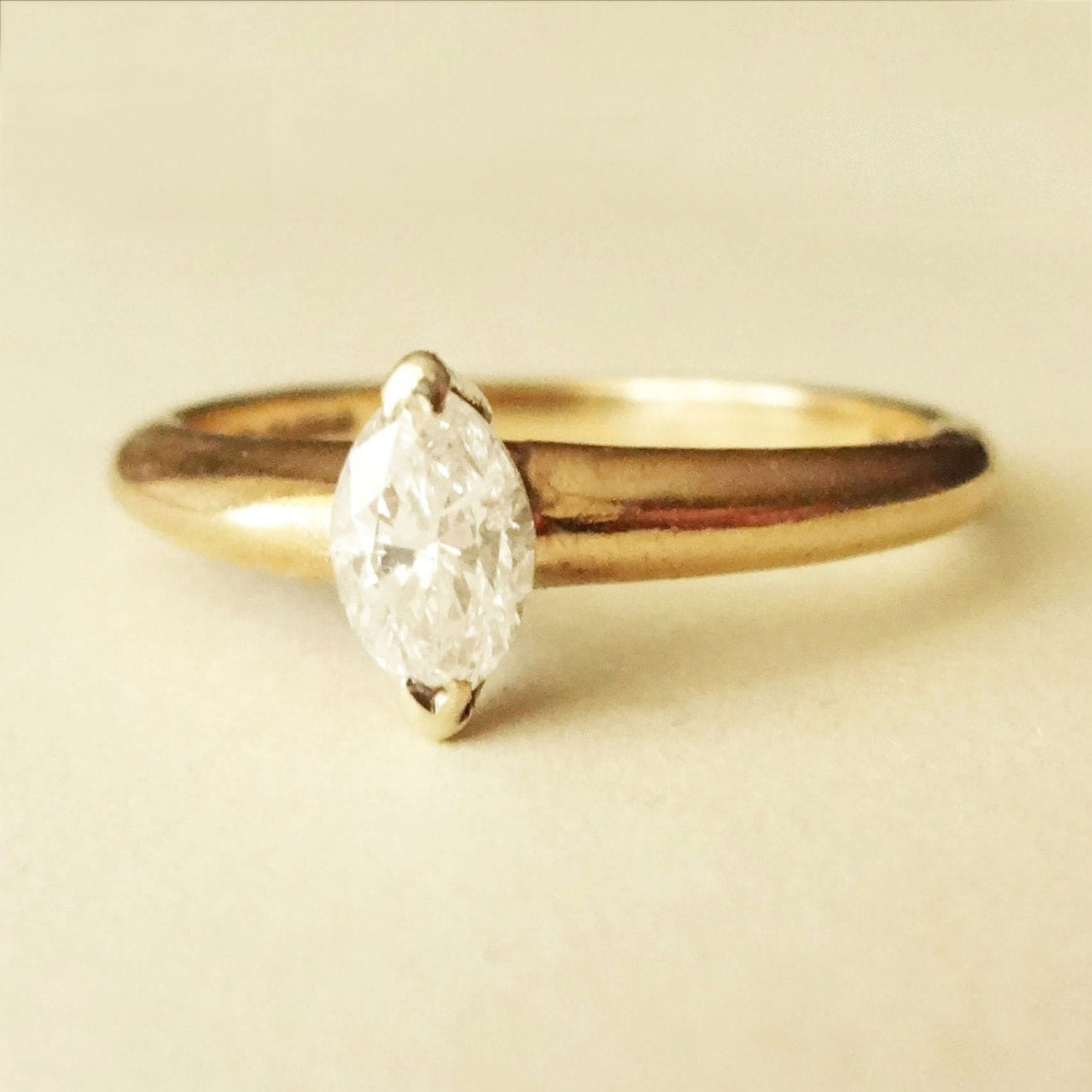 Vintage Marquise Cut 42 Carat Diamond Solitaire Engagement