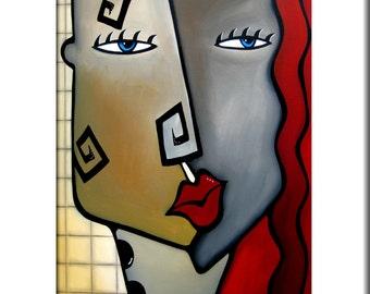 Abstract painting Modern pop Art print Contemporary urban face decor by Fidostudio