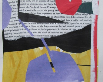 Pass By, Original Abstract Collage on Paper, Stooshinoff