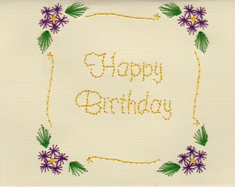Handmade Pin Prick Embroidery Purple Flowers Scroll  Happy Birthday Card
