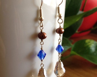 Freshwater Pearl and Crystal Earrings