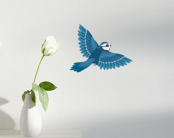 Cute Blue Jay Bird Vinyl Wall Decal
