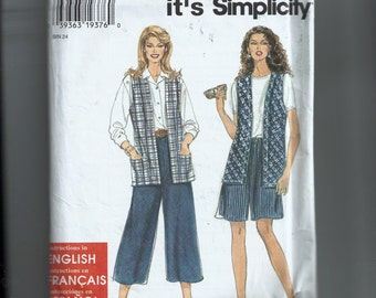 Simplicity Misses' Split Skirt In Two Lengths and Vest Pattern 7327