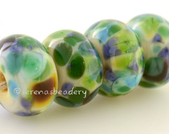 Lampwork Glass Bead Set MOTTEY MEADOW Frit  Handmade - TANERES - glossy or matte yellow blue green