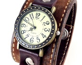 Leather Cuff with Working Watch