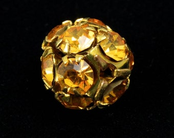 10mm Vintage Swarovski Topaz Encrusted Ball #XSR007