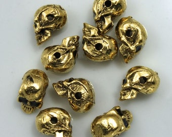 8mm Antique Gold Cast Metal Skull #CMC752