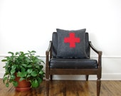 Charcoal Gray and Red Swiss Cross Decorative Pillow Cover