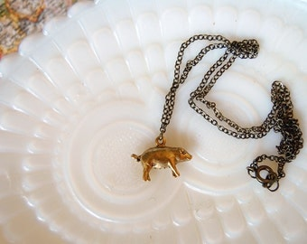 Vintage solid brass piglet charm necklace- farm life- piggy