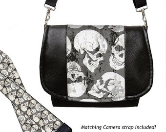 SET Vegan Leather Camera Bag Purse and DSLR Camera Strap, skulls, goth gothic, gray black white MTO