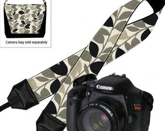 Camera Neck Strap Dslr Camera Strap SLR Padded Camera Strap Nikon Canon vines leaves gray black tan RTS