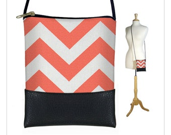 CLEARANCE Chevron Cross body bag,Small sling bag, Large cell phone pouch, iPhone 6 Plus Case, Phablet Cover, coral orange white black MTO