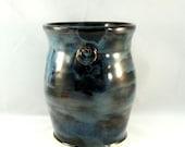 Handmade ceramic vase, art vessel, kitchen utensil holder, dark blue home decor, office decoration, large vase, Colorado made pottery
