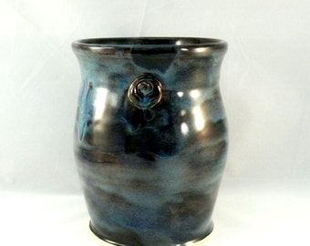 Handmade ceramic vase  - art vessel  - kitchen utensil holder - home decor - office decoration - large vase - Colorado made pottery