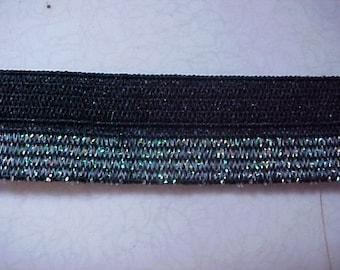FOLDOVER Elastic BLACK with GREEN Iridescent Glitter Lurex 5/8 inch Foldover Elastic 5 yds.