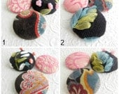 Velveteen buttons, pink button, black button, lace buttons, knit buttons,  embroidered buttons, size 75 buttons, LAST 2 SETS
