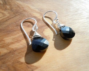 Black Swarovski crystal and sterling silver wire wrapped earrings