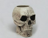 Aged Skull Ceramic Toothbrush Holder Tool Caddy Pencil or Pen Desk Accessory or Flower Planter or Container