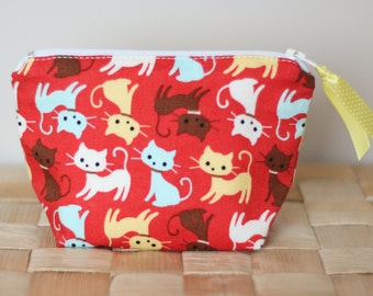Zipper pouch - cats - red - yellow - blue - brown - white - mini - ribbon - make up - jewelry - handbag