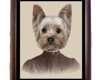 Victorian Yorkie Dog Cigarette Case Wallet Business Card Case Sweetheartsinner Prim & Proper Puppy