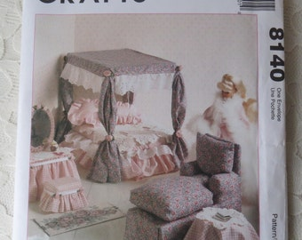 McCall's 8140 Crafts Sewing Pattern Doll House Furniture for 11-1/2 to 12-1/2 Inch Dolls OOP