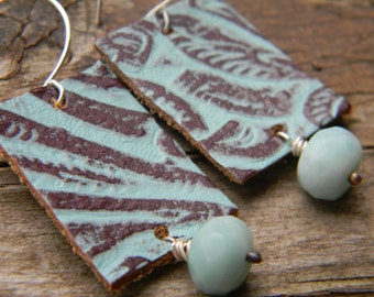 SALE - patterned brown and aqua leather with amazonite -sterling silver dangle earrings