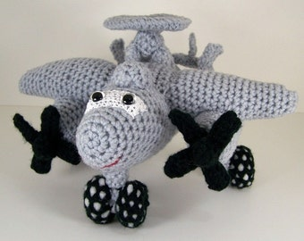 e2 Hawkeye aircraft ,  Crocheted Amigurumi Military e2 Hawkeye Airplane , stuffed airplane toy      MADE To ORDER