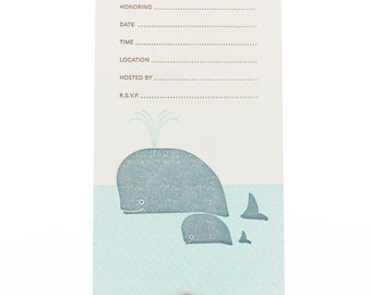 Whales Fill-in Party invitations Set of 8