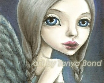 Angel - 5x7 print of an oil pastel painting by Tanya Bond - surreal pop - big eyes wings fairy fantasy art