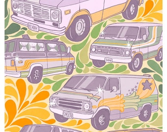 Retro Custom Vans - 9x12 print - 1970s conversion mural vans art