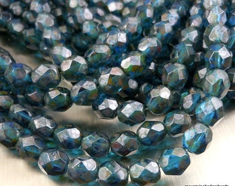 6mm Czech Glass Beads Firepolished Faceted Round Beads - Capri Picasso (G - 469)