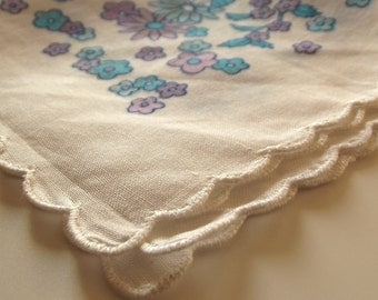 A Vintage Blue and Pink Floral Cotton Lawn Handkerchief - Dainty Ladies' Hanky