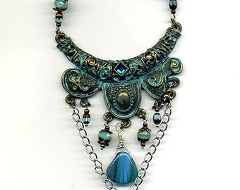 Necklace, glas beads, metal - Statement