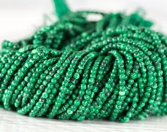 Malachite Beads, Emerald Green Malachite Bead Strand, Tiny Smooth Round Ball Beads, Full 14 inch Strand, 2mm- Item 174a