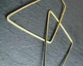 Polygon, modern hoop earrings, edgy geometric  earrings  hammered  brass hoops